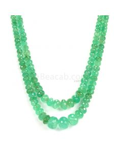 2 lines - Light Green Emerald Faceted Beads - 254.15 - 4.1 to 12.5 mm (EMFB1080)