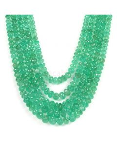 5 Lines - Light Green Emerald Faceted Beads - 642.60 - 3.4 to 9.6 mm (EMFB1077)