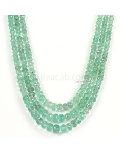 3 Lines - Light Green Emerald Faceted Beads - 267.10 - 4.1 to 8 mm (EMFB1087)