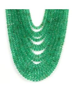 13 Lines - Medium Green Emerald Faceted Beads - 941.22 - 3 to 7 mm (EMFB1065)