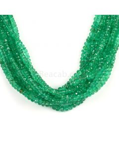 9 Lines - Medium Green Emerald Faceted Beads - 516.00 - 3.1 to 6 mm (EMFB1102)