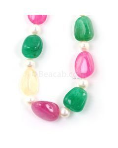 1 Line - Medium Tones Emerald, Sapphire, and Pink Tourmaline Tumbled Beads - 469.50 - 15.3 x 10.6 mm to 23.4 x 17.3 mm (FJ1008)