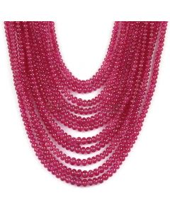 11 Lines - Medium Red Ruby Smooth (Plain) Beads - 662.90 - 2.5 to 4.2 mm (RSB1043)