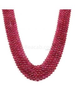 4 Lines - Medium Red Ruby Smooth (Plain) Beads - 424.07 - 2.8 to 6.7 mm (RSB1042)
