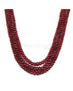 3 Lines - Dark Red Ruby Smooth (Plain) Beads - 248.50 - 3.1 to 5.6 mm (RSB1065)
