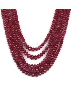 5 Lines - Dark Red Ruby Smooth (Plain) Beads - 250.50 - 2.9 to 5.9 mm (RSB1066)