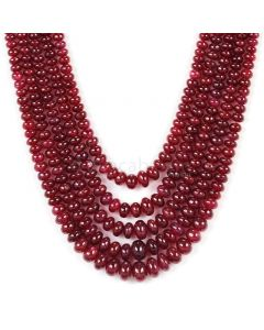 5 Lines - Dark Red Ruby Smooth (Plain) Beads - 360.0 - 2.5 to 6.5 mm (RSB1054)