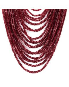 20 Lines - Dark Red Ruby Smooth (Plain) Beads - 712.95 - 2.1 to 4.4 mm (RSB1052)