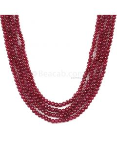 4 Lines - Dark Red Ruby Smooth (Plain) Beads - 241.15 - 3 to 3.5 mm (RSB1048)