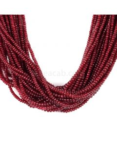 27 Lines - Dark Red Ruby Smooth (Plain) Beads - 906.25 - 2 to 3.2 mm (RSB1044)