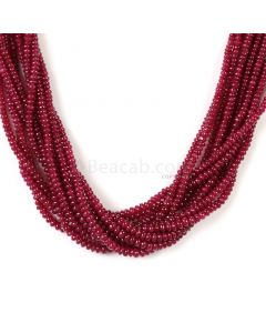 11 Lines - Medium Red Ruby Smooth (Plain) Beads - 390.50 - 2.5 to 3.5 mm (RSB1047)