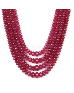 4 Lines - Medium Red Ruby Smooth (Plain) Beads - 549.25 - 3.5 to 8.8 mm (RSB1051)