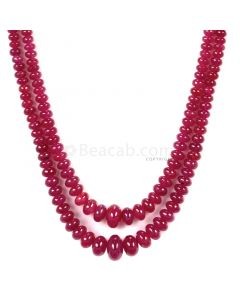 2 Lines - Medium Red Ruby Smooth (Plain) Beads - 159 - 3 to 8.3 mm (RSB1055)