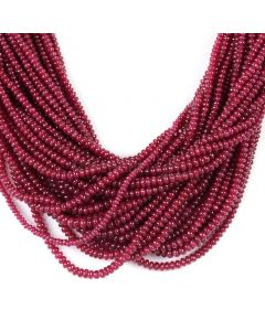 30 Lines - Medium Red Ruby Smooth (Plain) Beads - 1038.55 - 2.5 to 3.5 mm (RSB1056)