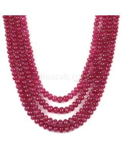 4 Lines - Medium Red Ruby Smooth (Plain) Beads - 409.05 - 3 to 5.5 mm (RSB1045)