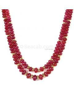 2 Lines - Medium Red Ruby Smooth (Plain) Beads - 184.50 - 2.7 to 6.8 mm (RSB1058)