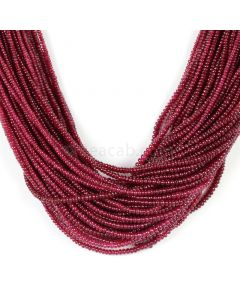 62 Lines - Medium Red Ruby Smooth (Plain) Beads - 1859 - 2.3 to 3.2 mm (RSB1061)