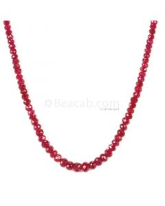 1 Line - Medium Red Ruby Faceted Beads - 62.00 - 3.7 to 5.5 mm (RFB1114)