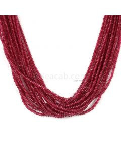 15 Lines - Medium Red Ruby Smooth (Plain) Beads - 258 - 1.8 to 2.6 mm (RSB1062)