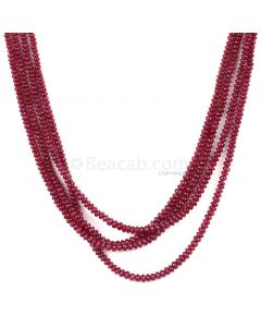 4 Lines - Dark Red Ruby Smooth (Plain) Beads - 166.00 - 2.2 to 3.4 mm (RSB1064)