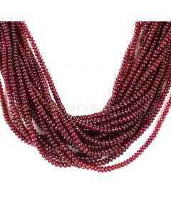 17 Lines - Dark Red Ruby Smooth (Plain) Beads - 679.00 - 2 to 3.5 mm (RSB1057)