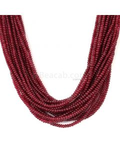 17 Lines - Medium Red Ruby Smooth (Plain) Beads - 657.50 - 2.5 to 3.5 mm (RSB1059)