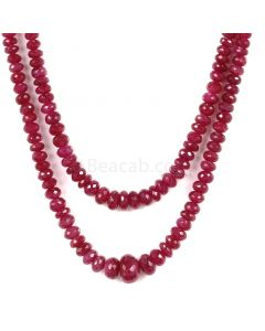 2 Lines - Medium Red Ruby Faceted Beads - 158 - 2.9 to 8.1 mm (RFB1130)