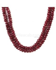 2 Lines - Dark Red Ruby Faceted Beads - 288.50 - 3.6 to 6.2 mm (RFB1125)