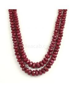 2 Lines - Medium Red Ruby Faceted Beads - 400 - 4.3 to 9.8 mm (RFB1123)