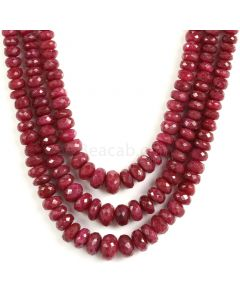 3 Lines - Faceted Medium Red Ruby Beads - 564.50 - 3.7 to 10.2 mm (RFB1117)