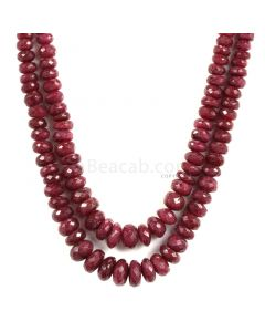 2 Lines - Faceted Dark Red Ruby Beads - 522.5 - 4.6 to 10.3 mm (RFB1115)