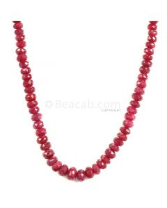 1 Line - Faceted Medium Red Ruby Beads - 132.75 - 2.6 to 7 mm (RFB1116)