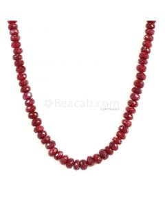 1 Line - Faceted Dark Red Ruby Beads - 146.7 - 3.9 to 6.3 mm (RFB1113)
