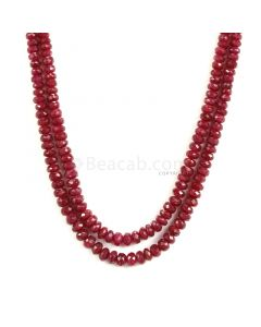 2 Lines - Medium Red Ruby Faceted Beads - 231.50 - 3.4 to 5.9 mm (RFB1142)