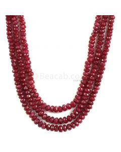 3 Lines - Medium Red Ruby Faceted Beads - 397.50 - 3.2 to 6.2 mm (RFB1144)