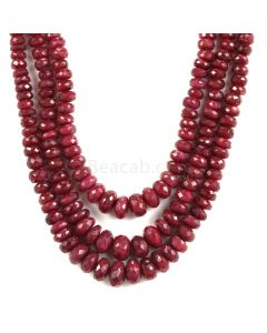 3 Lines - Medium Red Ruby Faceted Beads - 756.85 - 4.9 to 10.2 mm (RFB1141)
