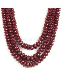 3 Lines - Dark Red Ruby Faceted Beads - 544 - 4.3 to 10 mm (RFB1135)