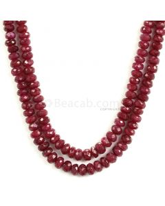 2 Lines - Medium Red Ruby Faceted Beads - 274 - 3.2 to 5.8 mm (RFB1146)