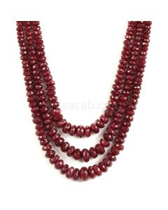 3 Lines - Medium Red Ruby Faceted Beads - 490.40 - 3.8 to 10.6 mm (RFB1140)