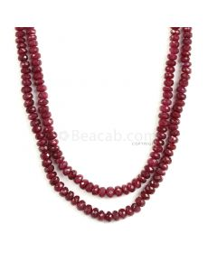 2 Lines - Medium Red Ruby Faceted Beads - 295 - 3.6 to 5.9 mm (RFB1139)