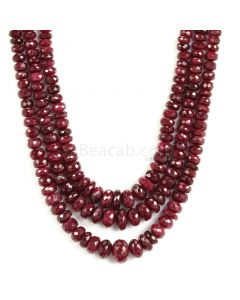 3 Lines - Medium Red Ruby Faceted Beads - 620 - 4.1 to 11.1 mm (RFB1138)
