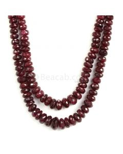 2 Lines - Dark Red Ruby Faceted Beads - 471.50 - 5.3 to 10.8 mm (RFB1137)