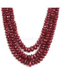 3 Lines - Medium Red Ruby Faceted Beads - 699 - 4.4 to 11.5 mm (RFB1132)