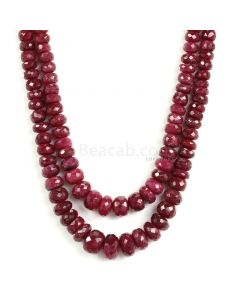 2 Lines - Dark Red Ruby Faceted Beads - 550.90 - 3.6 to 11 mm (RFB1131)