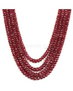 4 Lines - Medium Red Ruby Faceted Beads - 427 - 3.9 to 5.5 mm (RFB1109)