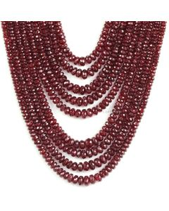 9 Lines - Dark Red Ruby Faceted Beads - 740 - 3.2 to 6.7 mm (RFB1110)