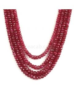 4 Lines - Medium Red Ruby Faceted Beads - 468 - 3.7 to 5.6 mm (RFB1111)