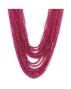 15 Lines - Medium Pink Pink Sapphire Faceted Beads - 532.59 cts -  (PNSFB1021)