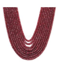 7 Lines - Red Ruby Faceted Beads - 1000.0 cts - 3.8 to 6.2 mm (RFB1147)