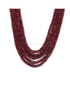 2 Lines - Medium Red Ruby Faceted Beads - 183.78 cts - 3.1 to 5.7 mm (RFB1148)
